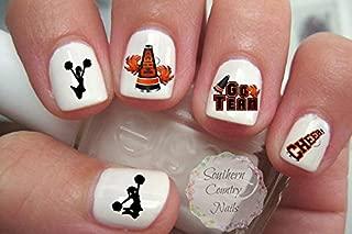 40 Cheer Cheerleading Orange/Black Nail Art Designs Decals