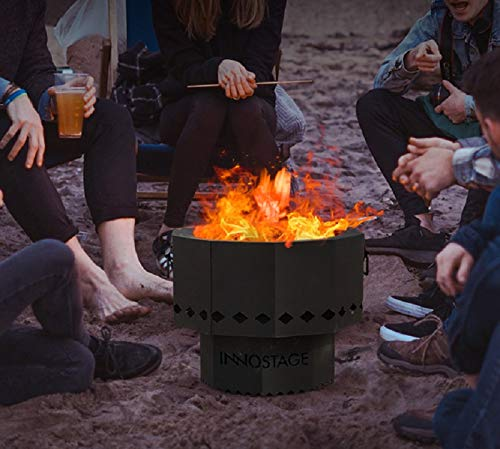 INNO STAGE Smokeless Fire Bowl Pit for Outdoor Wood Pellet Burning Spark with Portable Carrying Bag, Firepit Grill of Fireplace Stove for Picnic Camping Cooking on Beach