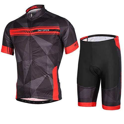 SKYSPER Homme Maillot de Cyclisme Manches Courtes et Cuissard avec Respirant 3D Gel Rembourré Vêtement Cycliste Séchage Rapide Tenue VTT Vélo de Route Set Maillot de Vélo Taille M-XXXL
