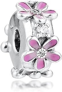 Desconocido JCaleydo - Clip Flores Rosas Plata de Ley 925 con *Caja Regalo* Compatible con Pulsera Pandora