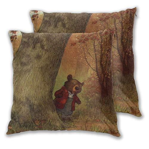 Christopher Denise - Set di 2 federe per cuscini quadrati con imbottitura in poliestere per divano, letto, sedia ufficio e auto, 45 x 40 cm