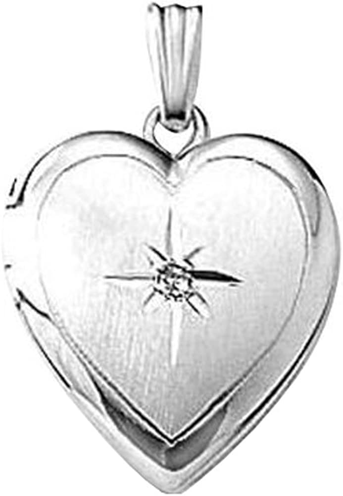 PicturesOnGold.com Sterling Silver Heart Locket Diamond Genuine W Sales for sale 3 2 In