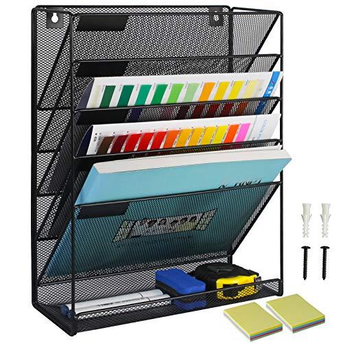 Qualsen Revistero de malla para colgar en la pared, 6 niveles, estante de clasificación de archivos de escritorio de alambre para correo, revista, documento y carpeta, Negro