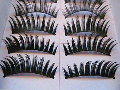 10 paires réutilisable qualité fait main Noir naturel effet épais faux imitation naturel extensions cil cils pour l'usage quotidien, soirée - by fat-catz-copy-catz - #011, Taille Unique