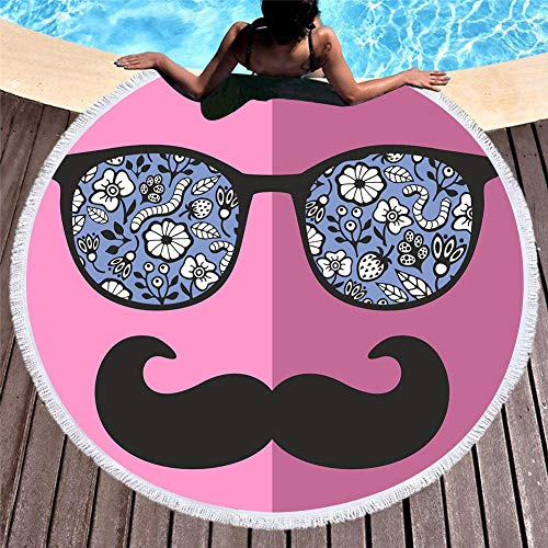 MGSTANZ strandhanddoek, 150 cm, grote afmetingen, rond, microvezel, kwast, picknickkleed, yogamat, kinderen, volwassenen, vakantie, strand, deken
