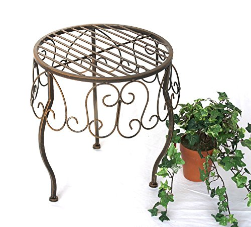 DanDiBo Blumenhocker Metall Braun Rund 35 cm Blumenständer 140129 XL Beistelltisch Pflanzenständer Klein