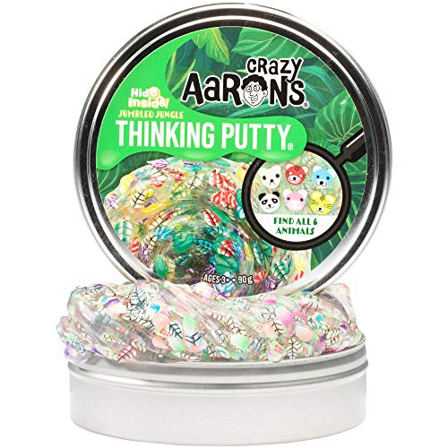 Crazy Aaron's Hide Inside Thinking Putty Play Set - Jumbled Jungle Find It Putty Game (3.2 Ounces) - Non-Toxic, Never Dries Out