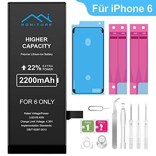HONITURE Ersatz Akku Kompatibel für iPhone 6 2200mAh, hoher Kapazität Batterie iPhone 6 mit Reparaturset und Werkzeugset Akku-Austausch Anleitung