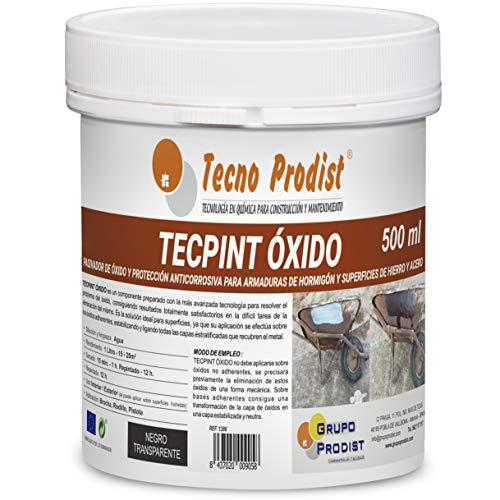 TECPINT OXIDO de Tecno Prodist - 500 ml - Pasivador de óxido al agua - protección anticorrosiva para armaduras – convertidor y transformador de oxido para superficies de hierro y acero