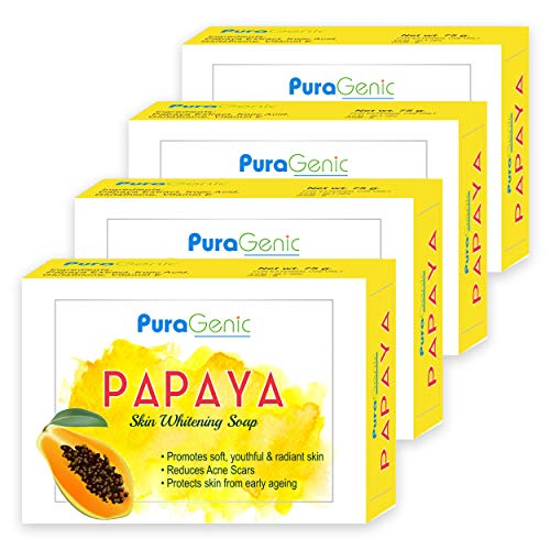 PuraGenic Papaya Skin Whitening Soap, 75gm with Papaya Extract, Kojic acid and Gluta thione, Skin lightening bathing bar for men and women - Combo Pack of 4, Helps in acne and get beautiful skin