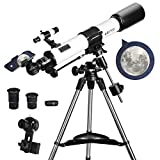 Telescopes for Adults, 80mm Aperture and 700mm Focal Length Astronomy Refractor Telescope for Kids and Beginners - with EQ Mount, 2 Eyepieces and Phone Adaptor