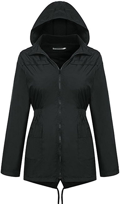 Waterproof Windproof Outdoor Raincoat Hooded Jacket Zip Jacket Jacket Raincoat Black Women's Raincoat (Size   L)