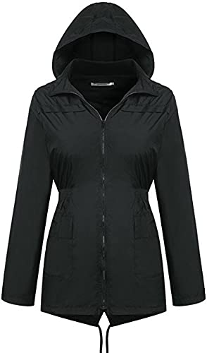 Wenzhihua Imperméable à l'eau Coupe-Vent imperméable extérieur Veste à Capuche zippée Veste Veste imperméable Noir Femmes imperméable Imperméable réutilisable (Taille   XL)