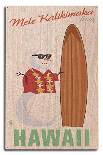 St234tyet Merry Christmas from Hawaii, muñeco de nieve y tabla de surf, impresiones artísticas para colgar en la pared, placa decorativa de madera, placa de madera para casa de campo de familia, regalos de cumpleaños o decoración de pared del hogar