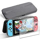 G-STORY Nintendo Switchフリップケース スイッチカバー[ガラス1枚付き] 吸盤式フラップ 多機能 スタンド用 全面保護 耐衝撃