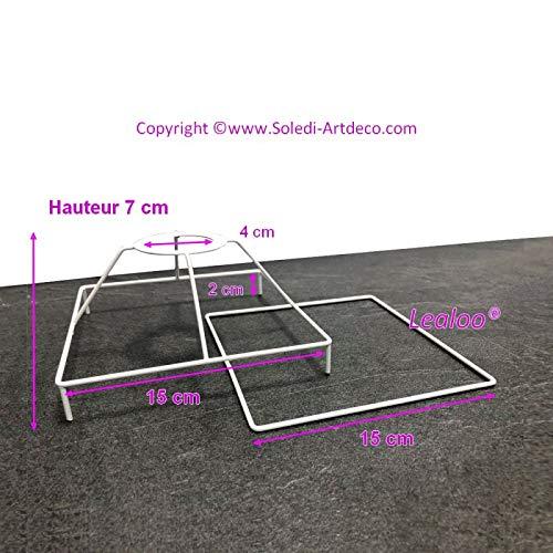 Lealoo Ossature-set, vierkant, met voeten, 15 cm, voor lampenkap, vierkant hoofd, met voeten en vierkant frame van epoxyhars, wit, voor fitting E27, 40