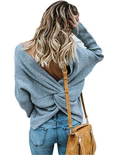 SIMYJOY Suéter sin Espalda Sexy para Mujer y niña Jersey Cruzado con Espalda Abierta Jerséis de Punto con suéter de Manga Larga Suelta Perla (Ropa)