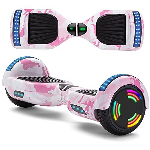 Hoverboard Kinder mit Fernbedienung & Ladegerät, Elektro Skateboard LED Leuchten & Bluetooth Musik und Fernschalter Elektroroller; Tarnung Rosa
