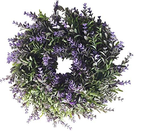 Unbekannt Blumenkranz Türkranz Kranz Lavendel lila grün Ø 30 cm Blumen Blütenkranz Zum hängen toller Hingucker für Das Ganze Jahr Dekokranz