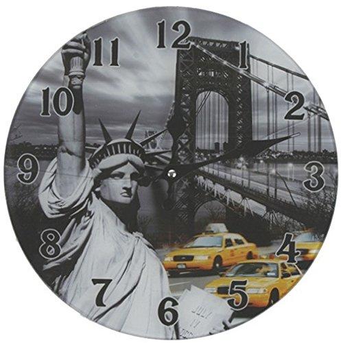 Glas Uhr Amerika Freiheitsstatue New York Durchmesser 38 cm, Wanduhr im Vintage Look mit Statue of Liberty Motiv, ausgefallenes Geschenk für USA und Retro Fans