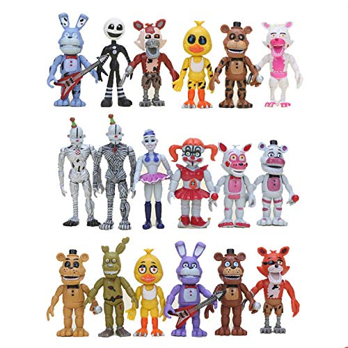 Wjfijz Five Nights At Freddy'S Figures Toy Set FNAF PVC Sister Location Foxy Puppet Figuras de acción Juguetes 10cm 18pcs