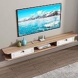 Brooke shop Mueble de TV flotante, soporte para estante de entretenimiento, receptor, caja de cable, consola de video, mueble de TV montado en la pared con partición flotante/C / 120×24×
