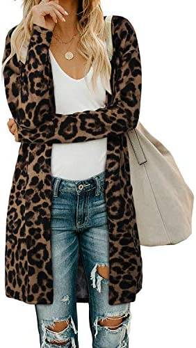 OUGES Women s Leopard Print Open Front Cardigan Shirt with Pockets Long Sleeve Lightweight Coat product image