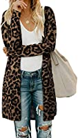 OUGES Women's Open Front Cardigan Shirt with Pockets Long Sleeve Lightweight Coat(Gray,L)