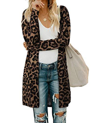 OUGES Damen Leopard Strickjacke Lang Leicht Cardigan Strickmantel mit Taschen(Leopard01,XL)