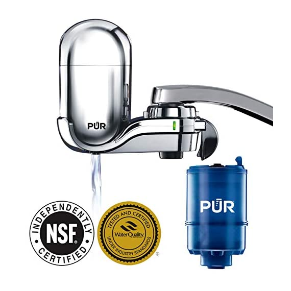 PUR FM-3700 Advanced Faucet Water Filter, Chrome 4 Advanced Faucet Filtration System: Featuring Sinple One Click Tool Free Attachment, There's Never Been an Easier or More Reliable Way to Get Healthier, Cleaner, Great Tasting Water Straight From Your Faucet Faucet Water Filter; PUR faucet filters provide 100 gallons of filtered water, or 2 3 months of typical use, before you need a replacement. Only PUR faucet filters are certified to reduce contaminants in PUR faucet filter systems WHY FILTER WATER? Home tap water may look clean, but may contain potentially harmful pollutants & contaminants picked up on its journey through old pipes. PUR water filters, faucet filtration systems & water filter pitchers reduce these contaminants
