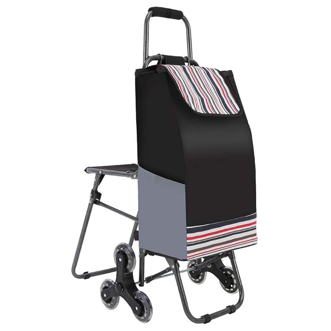 火山の失乗り出すショッピングトロリーバッグ折りたたみ階段旅行カート6 PUのホイールトロリーシート付き33 x 20 x 90 cm (Color : Black)