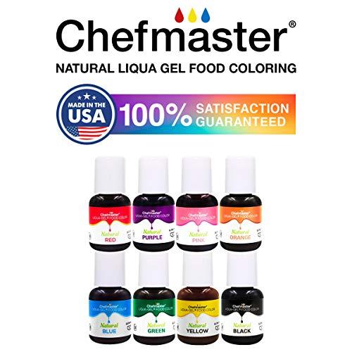 Chefmaster - Natural Liqua-Gel Food Coloring Kit - Natural Gel Food Coloring - 8 Count Pack - Plant-Based Ingredients, Naturally Vibrant Colors, Blends Easily