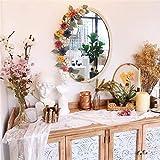 HAOYANGDE Espejo decorativo de la pared, espejos de vanidad de vintage oval, marco de flores de hierro forjado retro blanco, decoración antigua para dormitorio, cómodas, sala de estar, código de produ