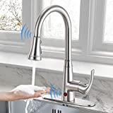 """Cobbe Touchless Kitchen Faucet Single Handle Dual Induction Brushed Nickel Pull Down Kitchen Sink Faucet Motion Infrared Sensor Sink Faucet with 10"""" Deck Plate"""