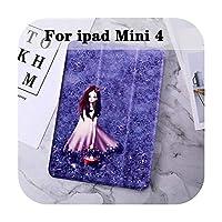 for ipad mini 5 4 3 2 1用ケースペイントレザータブレットカバーMini 5 Mini 4 mini 1 2 3保護シェルフリップスタンドスマートカバー-Lavender for Mini 4-