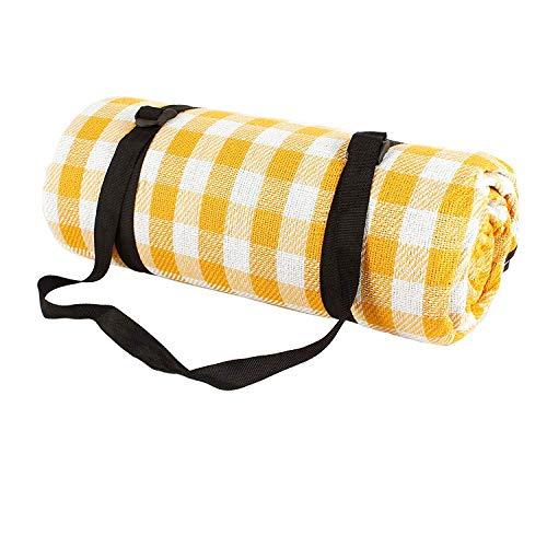Camping en Plein air Tapis de Pique-Nique imperméable PEVA Pliable Plage à Carreaux pour Couverture de Couchage Matelas Touristique jaune-200 * 200 cm