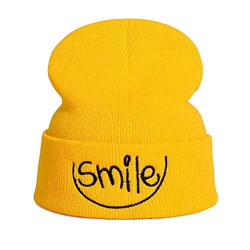 JINRMP Gorro De Mujer Y Hombre Gorro De Otoño Sonrisa Colorida Gorro De Punto GorroRelojCuffCap para Niñas Y Niños Sombreros De Calavera De Primavera