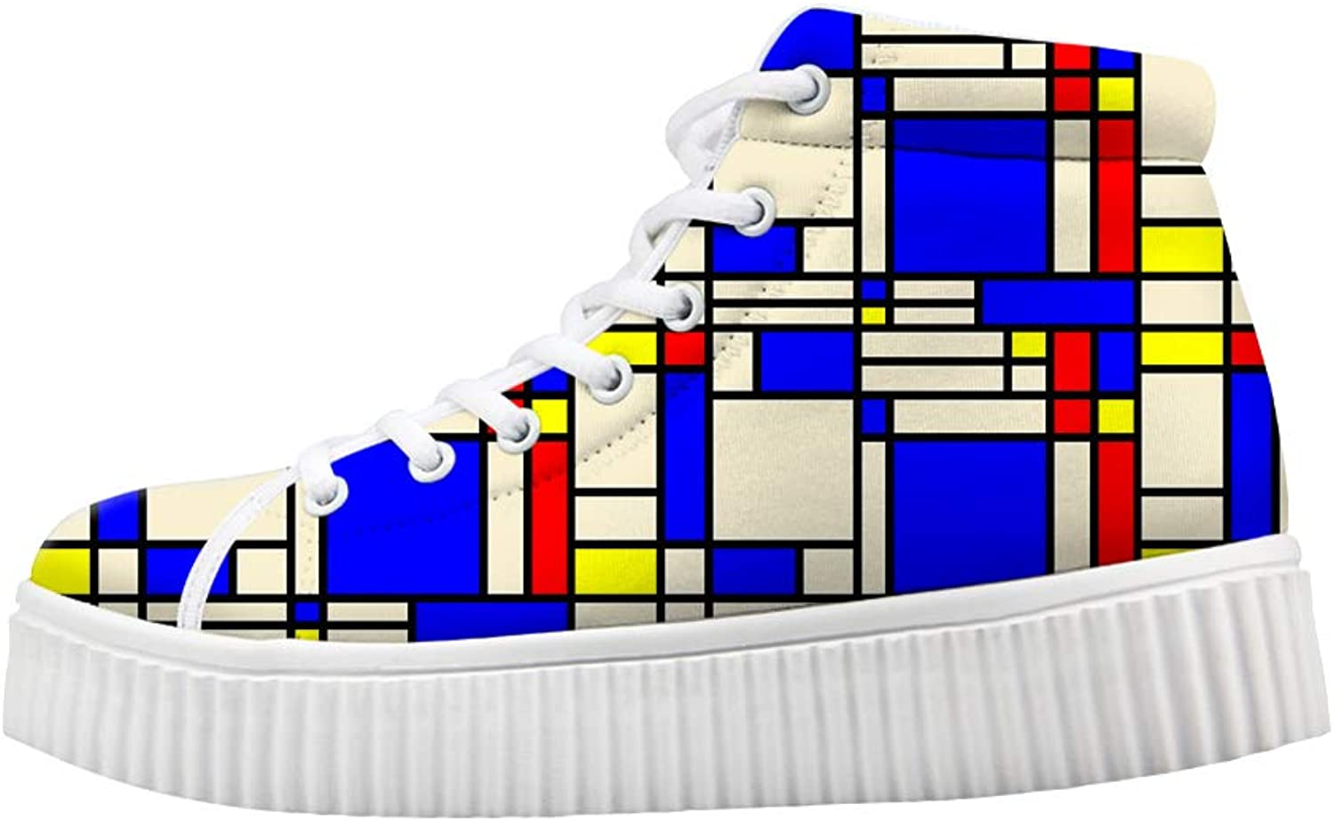 Owaheson Platform Lace up Sneaker Casual Chunky Walking shoes Women Artistic Mondrian Style