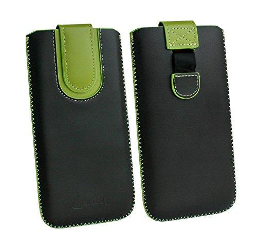emartbuy Schwarz/Grun Premium PU Leder Slide in Pouch Hülle Cover Hülsenhalter Hulle Tasche (Größe LM5) mit Pull Tab Mechanismus Kompatibel mit Smartphones Aufgeführt Unten