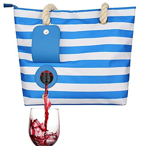 Gcroet Wein-Tasche, Strandwein-Geldbörse Tote Eisbeutel versteckten isolierten Fach gestreiften Handtasche, Strandwein-Geldbörse Tragbare Wärmedämmung Streifen Wein-Tasche Fachblau