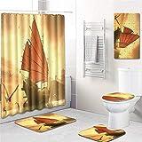 Asiento Para Inodoro De Cierre Suave 5 Piezas 3D Pirámides Egipcias Cortina De Ducha Alfombra De Baño Juego De Almohadillas Antideslizantes Alfombra De Baño Impermeable-No-4_45X75Cm(5Pcs)