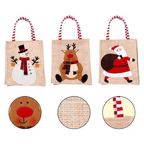 3 Pezzi di Natale Borsa di Tela Riutilizzabile Tote Bag Pupazzo di Neve Babbo Natale Renna Borsa per la Spesa Borsa per il Mercato Ecologica con Manico Regalo di Natale