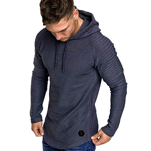 Yvelands con Capucha Camiseta de Manga Larga para Hombre Color sólido a Rayas Plisado Slim fit suéter Outwear Invierno de otoño, liquidación! (Gris, M)