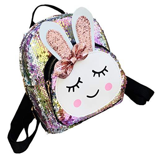 Mochilas Escolares Niña Bolsos de Hombro para Niños Lentejuelas Mochilas Bolsa de Viaje Escolar Niña Jardín de Infancia Patrón de Conejo