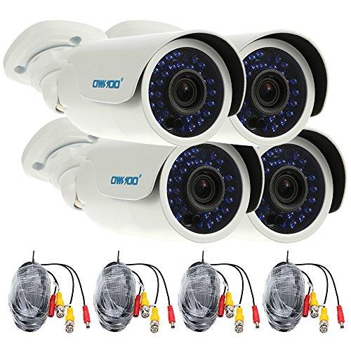 OWSOO 4X 1500TVL Cámara CCTV AHD 720P + 4X 60ft Cable de Vigilancia Exterior Impermeable IP66 30 IR LED IR-Cut Visión Nocturna Plug and Play