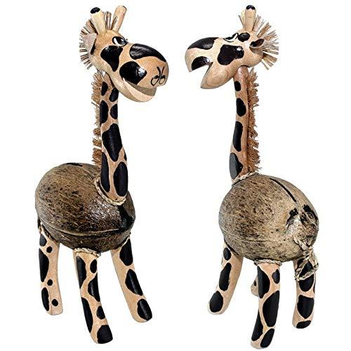 kenai Handgefertigte Deko Giraffe, Spardose Giraffe aus Kokosnuss + Holz. Handmade Deco Giraffe, Money Box Giraffe Made of Coconut + Wood