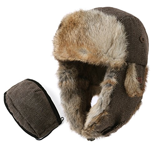 Fancet Mens Large Head Womens Wool 100% Rabbit Fur Mask Bomber Trapper Earflaps Cap 24 Inch Russian Winter Hunting Hat Brown 59-61cm