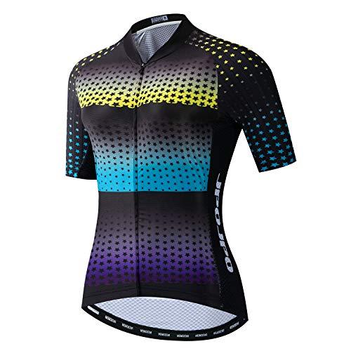 Maillot de ciclismo para mujer, de manga corta, incluye 4 bolsillos reflectantes,...