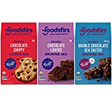 Foodstirs Organic Chocolate Chip Cookie Mix, Chocolate Lovers Brownie Mix, and Brooklyn Brownie Mix, 3 Count Variety Pack