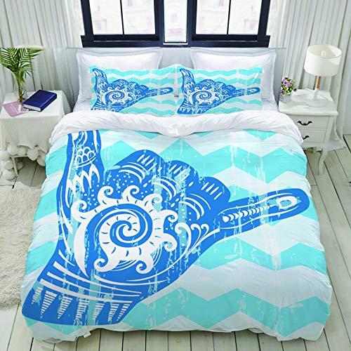 Dodunstyle Duvet Cover,Hang Loose Hand Signal Surf Hand Sign,Bedding Set Ultra Comfy Lightweight Polyster Quilt Cover Sets